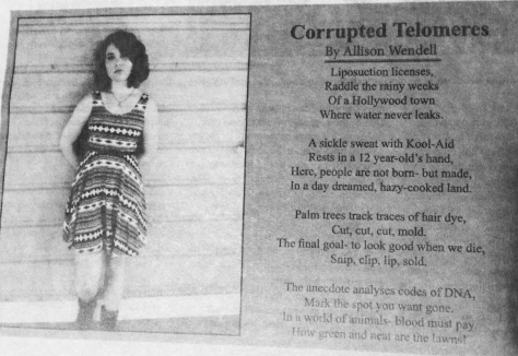 My Poem Published in the Benicia  High School newspaper.